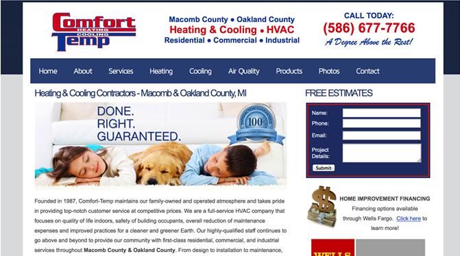 Heating Cooling Contractor Website Design