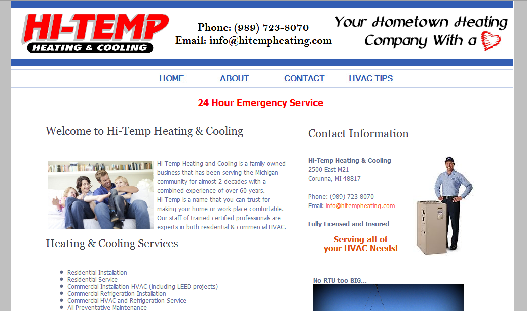 Heating & Cooling Contractor Websites