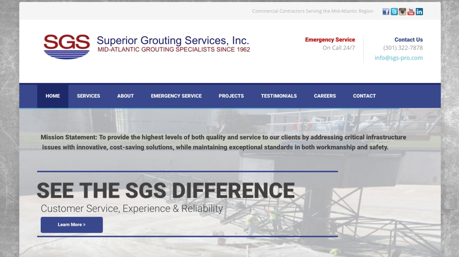 Commercial Grouting Contractor Website Design