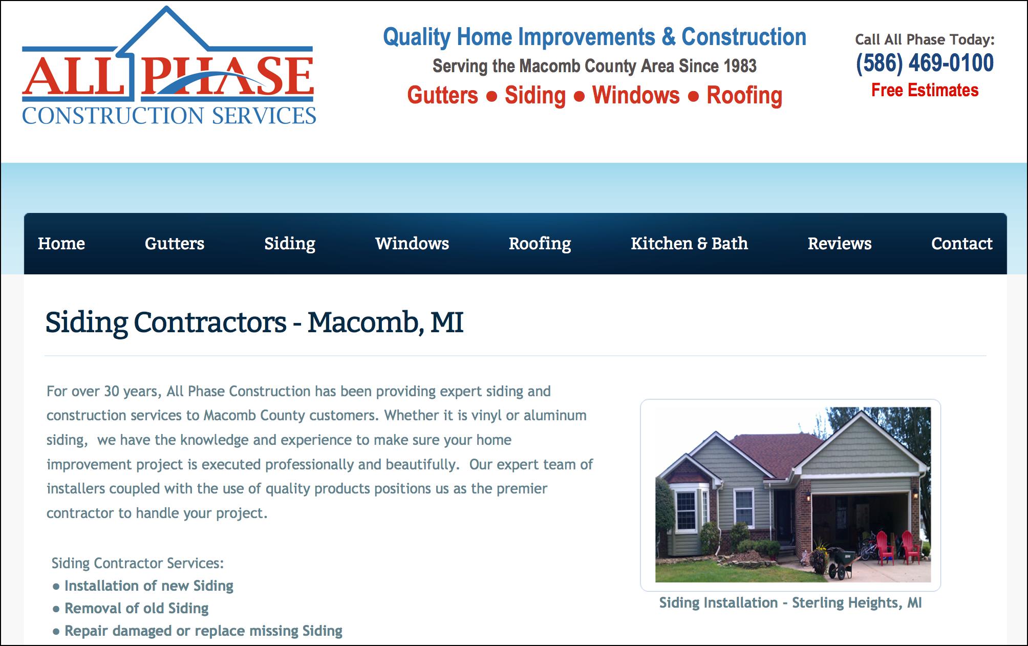Gutter Contractor Website Design