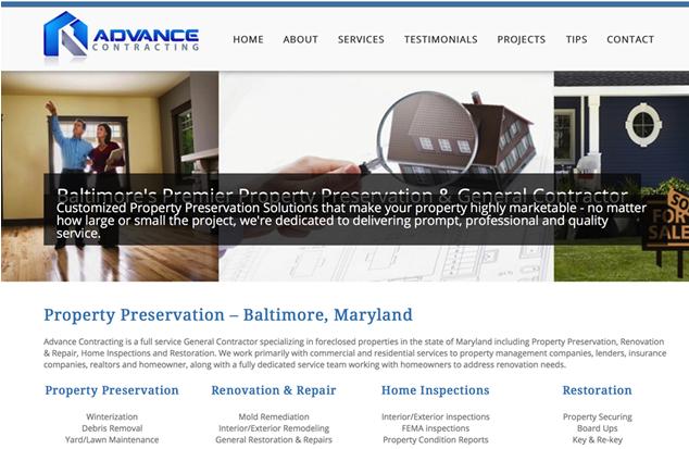 Restoration Contractor Website Design